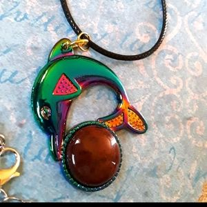 TITANIUM DOLPHIN WITH AGATE STONE NEW
